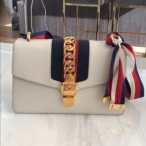 Gucci Sylvie Shoulder Bag in White Calfskin